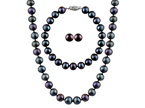 7-7.5mm Black Cultured Freshwater Pearl Sterling Silver Jewelry Set