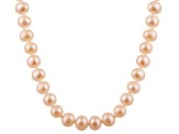 9-9.5mm Pink Cultured Freshwater Pearl 14k Yellow Gold Strand Necklace 28 inches