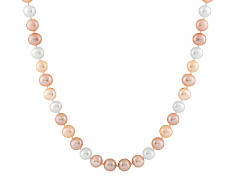 9-9.5mm Multi-Color Cultured Freshwater Pearl 14k Yellow Gold Strand Necklace
