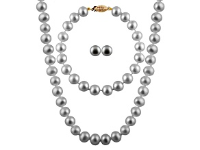7-7.5mm Silver Cultured Freshwater Pearl 14k Yellow Gold Jewelry Set