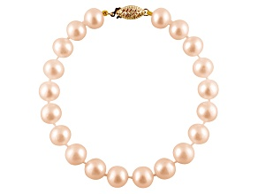7-7.5mm Pink Cultured Freshwater Pearl 14k Yellow Gold Line Bracelet