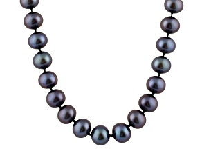 7-7.5mm Black Cultured Freshwater Pearl 14k White Gold Strand Necklace 16 inches
