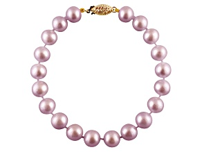 6-6.5mm Purple Cultured Freshwater Pearl 14k Yellow Gold Line Bracelet 8 inches
