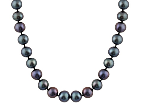 7-7.5mm Black Cultured Freshwater Pearl Sterling Silver Strand Necklace