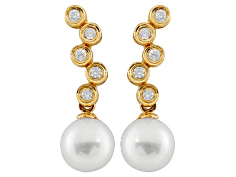 7-8mm Cultured Japanese Akoya Pearl With Diamond 14k Yellow Gold Stud Earrings