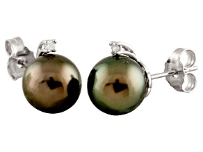 9-9.5mm Cultured Tahitian Pearl With Diamond 14k White Gold Stud Earrings