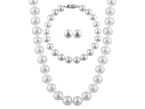 7-7.5mm White Cultured Freshwater Pearl Sterling Silver Jewelry Set