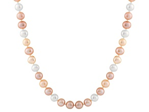 9-9.5mm Multi-Color Cultured Freshwater Pearl 14k White Gold Strand Necklace