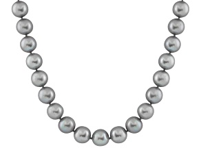 9-9.5mm Silver Cultured Freshwater Pearl 14k Yellow Gold Strand Necklace