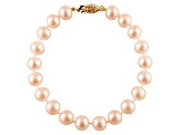 8-8.5mm Pink Cultured Freshwater Pearl 14k Yellow Gold Line Bracelet 7 inches