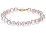 8-8.5mm Purple Cultured Freshwater Pearl 14k Yellow Gold Line Bracelet 7 inches