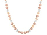 7-7.5mm Multi-Color Cultured Freshwater Pearl 14k Yellow Gold Strand Necklace