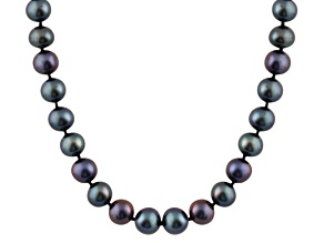 7-7.5mm Black Cultured Freshwater Pearl 14k Yellow Gold Strand Necklace