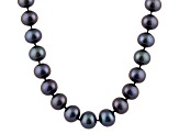 6-6.5mm Black Cultured Freshwater Pearl 14k White Gold Strand Necklace 18 inches