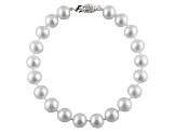 10-10.5mm White Cultured Freshwater Pearl Sterling Silver Line Bracelet 8 inches