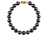 10-10.5mm Black Cultured Freshwater Pearl 14k Yellow Gold Line Bracelet 8 inches