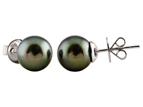 8-8.5mm Cultured Tahitian Pearl Rhodium Over Sterling Silver Stud Earrings