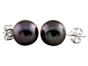 7-7.5mm Black Cultured Freshwater Pearl 14k White Gold Stud Earrings