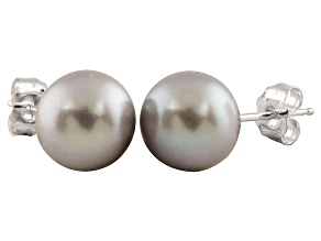 7-7.5mm Silver Cultured Freshwater Pearl 14k White Gold Stud Earrings