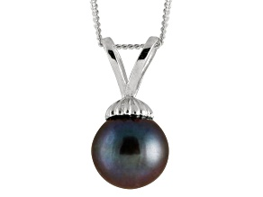 8-8.5mm Black Cultured Freshwater Pearl 14k White Gold Pendant With Chain