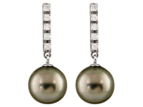 9-9.5mm Cultured Tahitian Pearl With 0.20ctw Diamond 14k White Gold Earrings