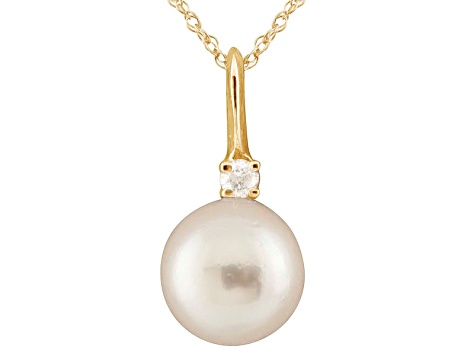 8-8.5mm Cultured Japanese Akoya Pearl Diamond 14k Yellow Gold Pendant With Chain