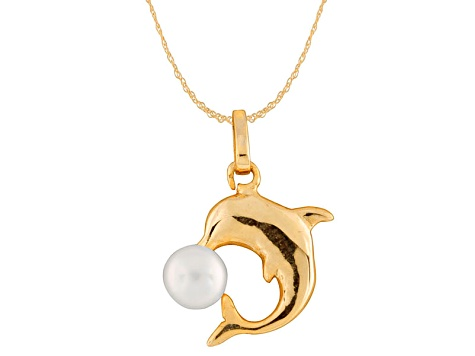 5-5.5mm Cultured Freshwater Pearl 14k Yellow Gold Dolphin Pendant With Chain