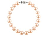 7-7.5mm Pink Cultured Freshwater Pearl Sterling Silver Line Bracelet 8 inches