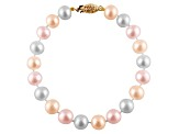 7-7.5mm Multi-Color Cultured Freshwater Pearl 14k Yellow Gold Line Bracelet