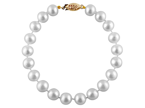 11-11.5mm White Cultured Freshwater Pearl 14k Yellow Gold Line Bracelet 8 inches