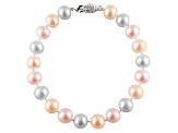 11-11.5mm Multi-Color Cultured Freshwater Pearl Sterling Silver Line Bracelet 7.25 inches