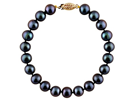 11-11.5mm Black Cultured Freshwater Pearl 14k Yellow Gold Line Bracelet