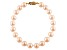 10-10.5mm Pink Cultured Freshwater Pearl 14k Yellow Gold Line Bracelet 8 inches