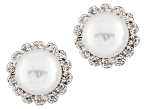 7-7.5mm White Cultured Freshwater Pearl With Diamond 14k White Gold Earrings