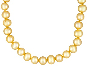 8-9mm Golden Cultured Freshwater Pearl Sterling Silver 20 inch Necklace