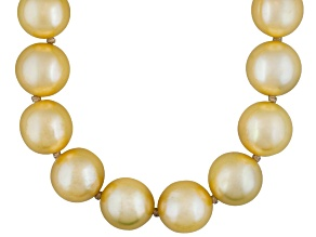 9 To 10mm Golden Cultured Freshwater Pearl Sterling Silver 20 inch Necklace