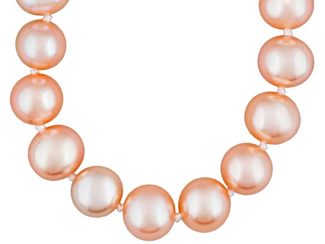 7 To 8mm Peach Cultured Freshwater Pearl Sterling Silver 18 inch Necklace