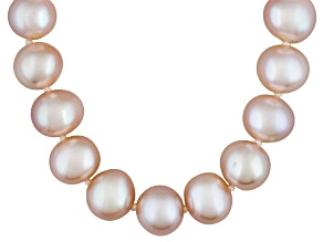 Pink Cultured Freshwater Pearl Sterling Silver Necklace 18 inch 7-8mm