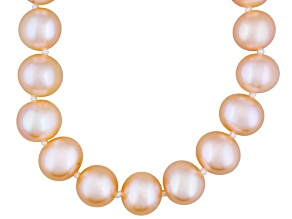 Peach Cultured Freshwater Pearl Sterling Silver Necklace 20 inch