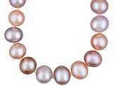 7 To 8mm Pink, Peach & Purple Cultured Freshwater Pearl Sterling Silver 20 inch Necklace