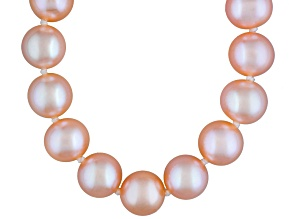 8 To 9mm Peach Cultured Freshwater Pearl Sterling Silver 18 inch Necklace