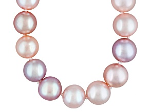 Womens Purple Pink Peach Freshwater Pearl Sterling Silver 20 inches Necklace