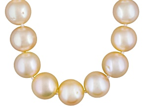 9 To 10mm Peach Cultured Freshwater Pearl Sterling Silver 18 inch Necklace