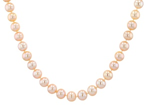 9 To 10mm Peach Cultured Freshwater Pearl Sterling Silver 20 inch Necklace