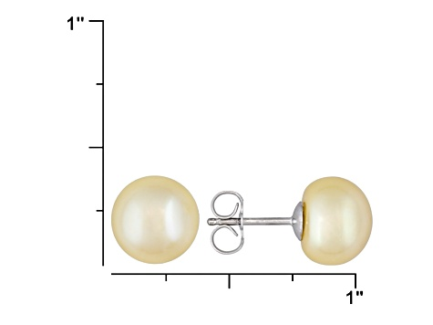 8mm Round Golden Freshwater Pearl Solid Sterling Silver   Stud Earrings