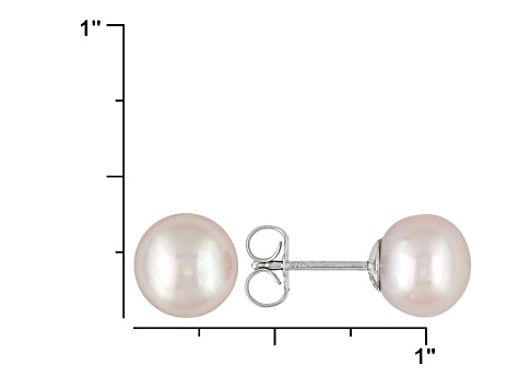 Round Pink Freshwater Pearl Solid Sterling Silver   Stud Earrings