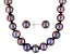 8-9mm Black Cultured Freshwater Pearl Rhodium Over Sterling Silver Necklace & Earring Jewelry Set