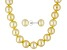 9 To 10mm Golden Cultured Freshwater Pearl Ss 18 inch Necklace & Stud Earring Jewelry Set