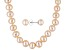 7 To 8mm Peach Cultured Freshwater Pearl Sterling Silver 18 inch Necklace & Stud Earring Jewelry Set