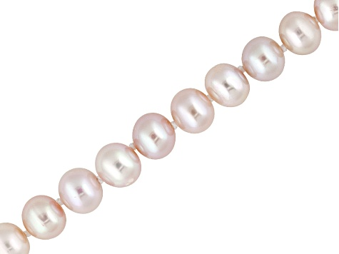 7 To 8mm Pink Cultured Freshwater Pearl Sterling Silver 18 inch Necklace & Stud Earring Jewelry Set